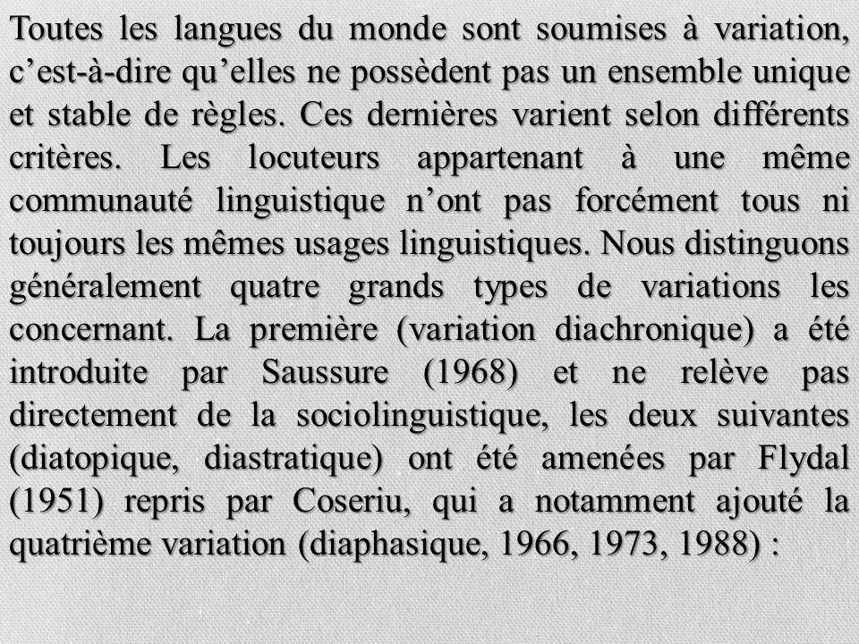 Toutes les langues du monde sont soumises à variation, c'est-à-dire qu'elles ne possèdent pas un ensemble unique et stable de règles.