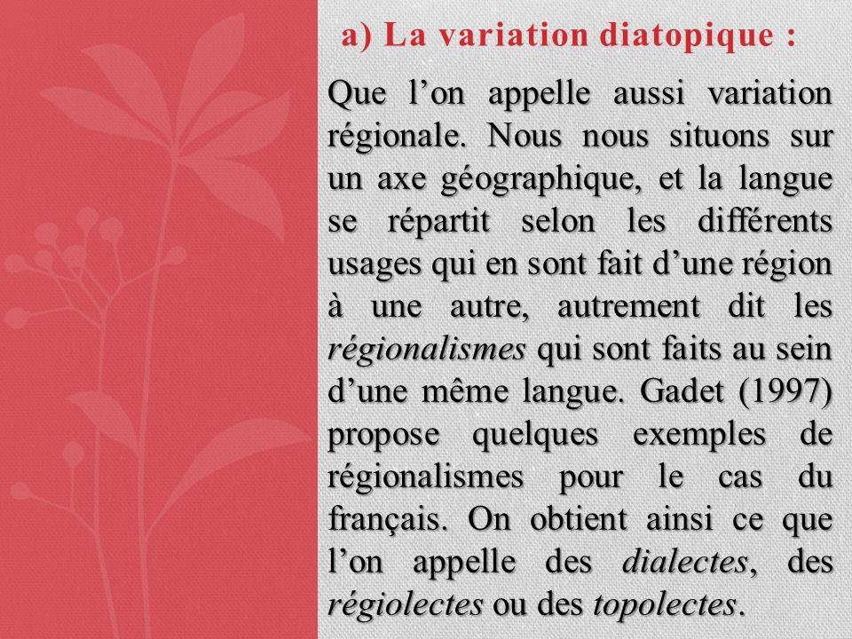 a) La variation diatopique :