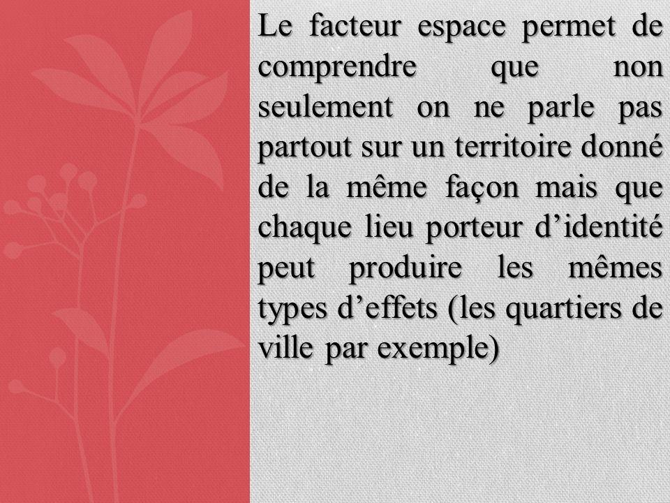 Le facteur espace permet de comprendre que non seulement on ne parle pas partout sur un territoire donné de la même façon mais que chaque lieu porteur d'identité peut produire les mêmes types d'effets (les quartiers de ville par exemple)