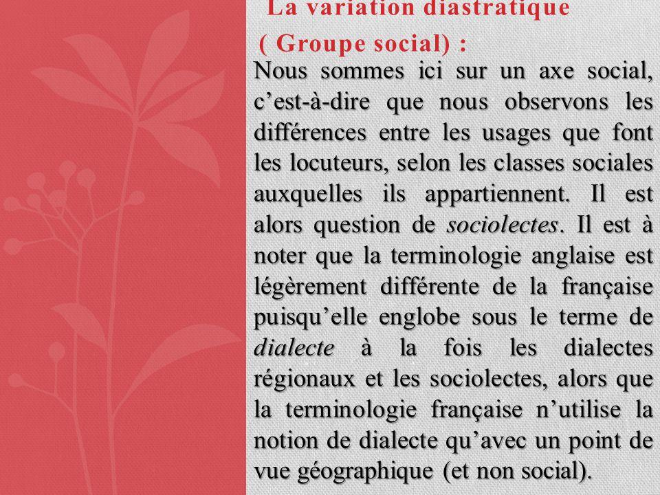La variation diastratique ( Groupe social) :