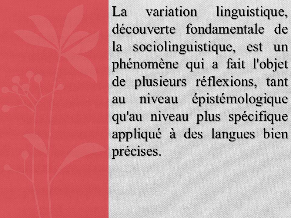 La variation linguistique, découverte fondamentale de la sociolinguistique, est un phénomène qui a fait l objet de plusieurs réflexions, tant au niveau épistémologique qu au niveau plus spécifique appliqué à des langues bien précises.