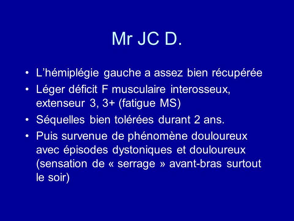 Mr JC D. L'hémiplégie gauche a assez bien récupérée