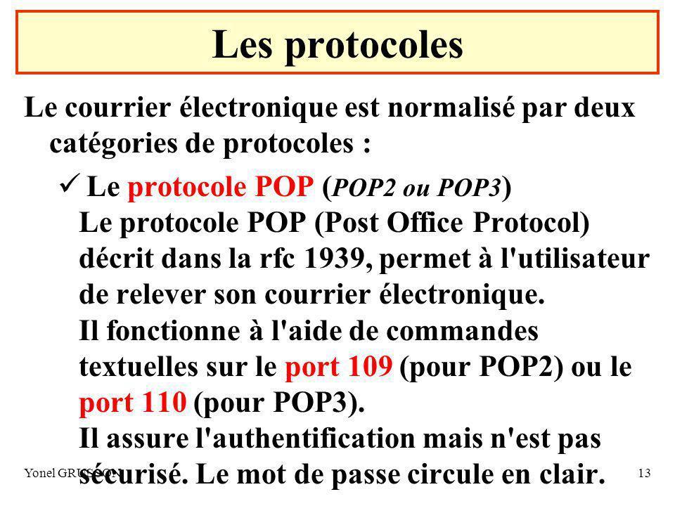 Les protocoles Le courrier électronique est normalisé par deux catégories de protocoles :