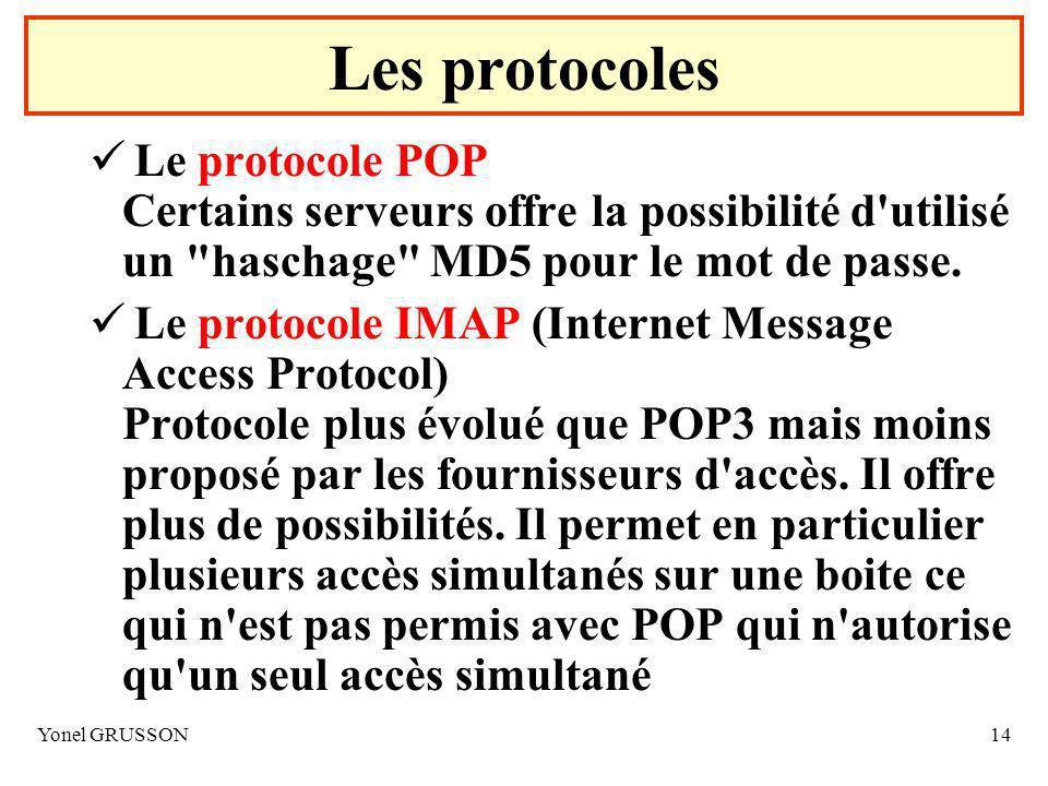 Les protocoles Le protocole POP Certains serveurs offre la possibilité d utilisé un haschage MD5 pour le mot de passe.