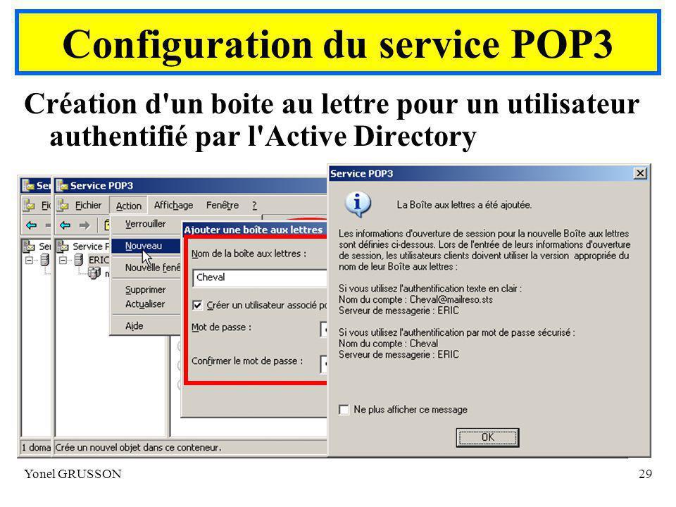Configuration du service POP3