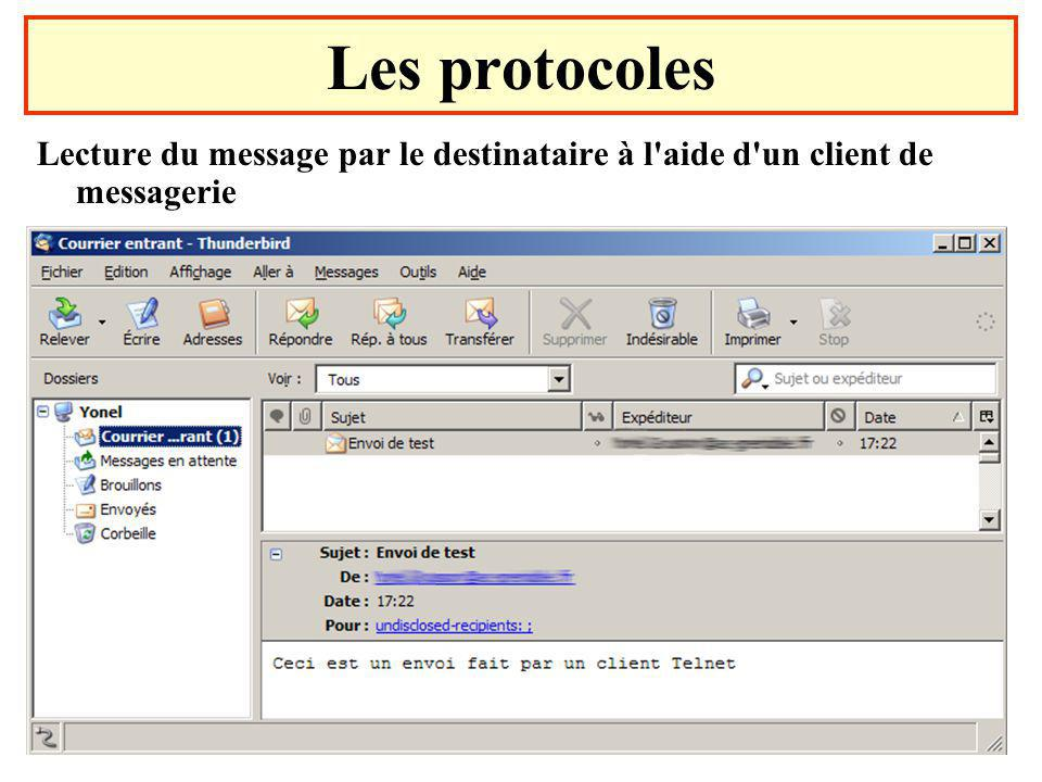 Les protocoles Lecture du message par le destinataire à l aide d un client de messagerie.