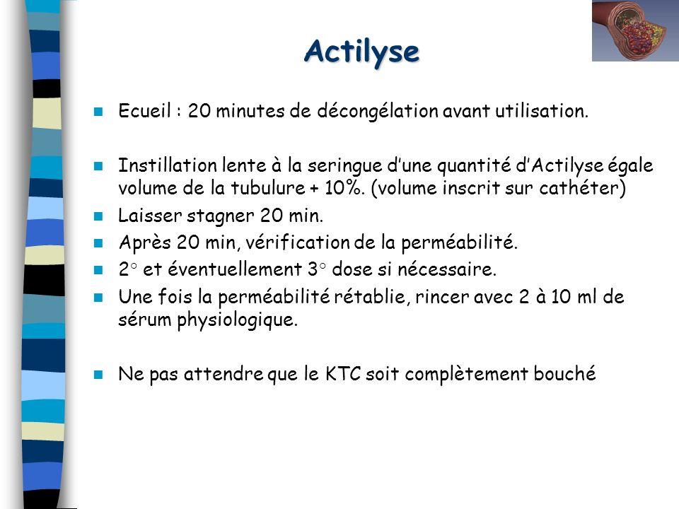 Actilyse Ecueil : 20 minutes de décongélation avant utilisation.