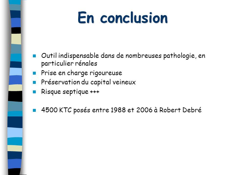 En conclusion Outil indispensable dans de nombreuses pathologie, en particulier rénales. Prise en charge rigoureuse.