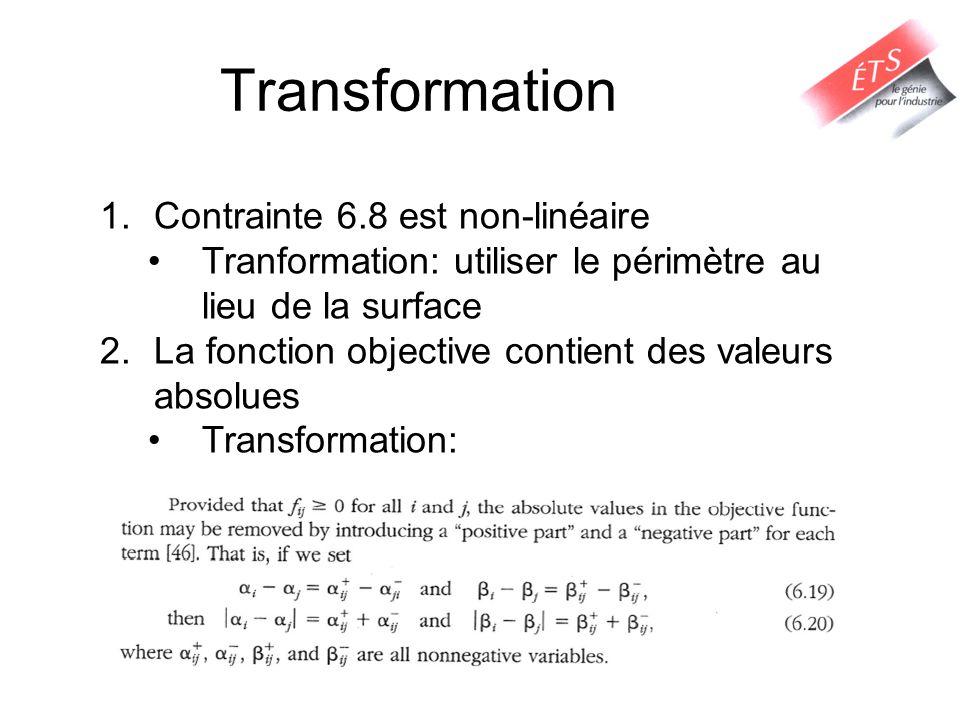 Transformation Contrainte 6.8 est non-linéaire