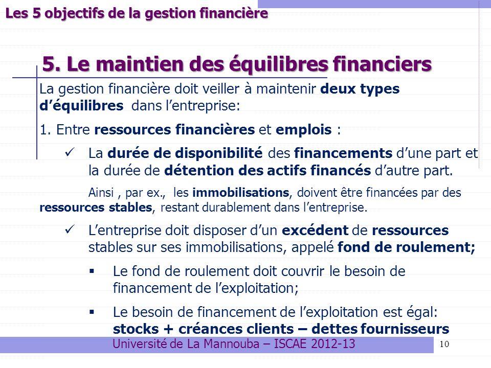 5. Le maintien des équilibres financiers