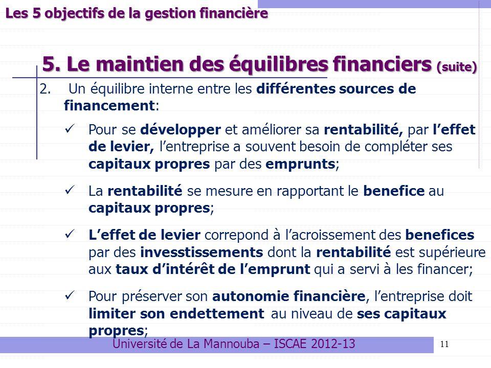 5. Le maintien des équilibres financiers (suite)