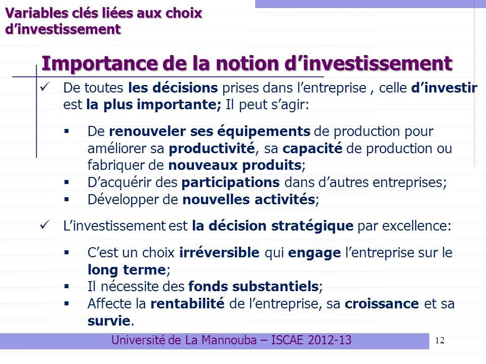 Importance de la notion d'investissement