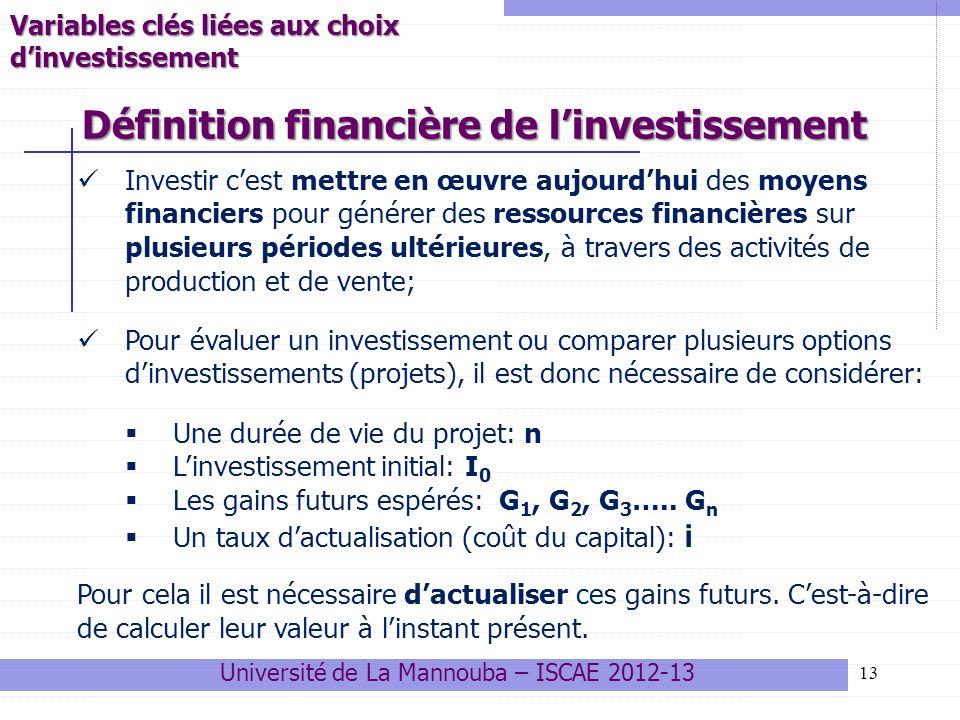 Définition financière de l'investissement