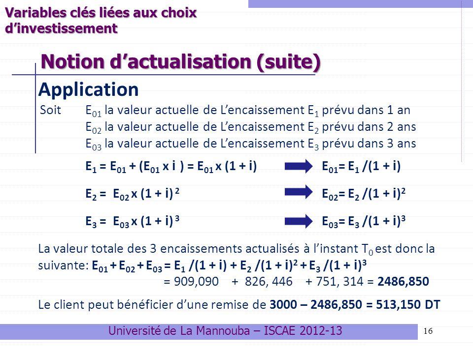 Notion d'actualisation (suite)