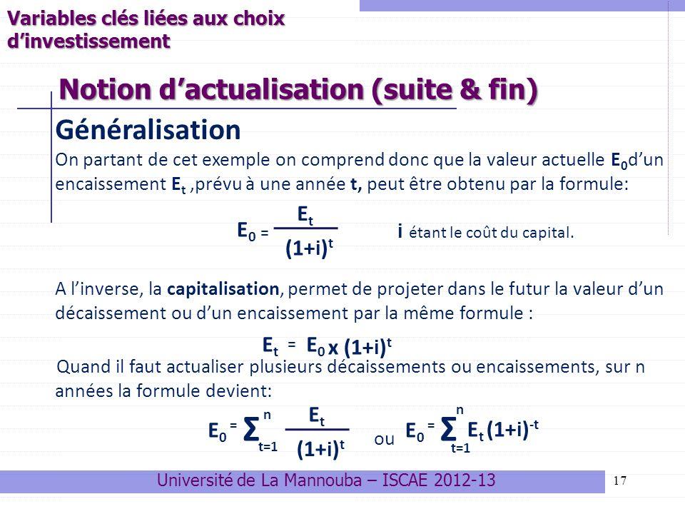Notion d'actualisation (suite & fin)