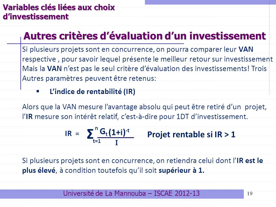 Autres critères d'évaluation d'un investissement