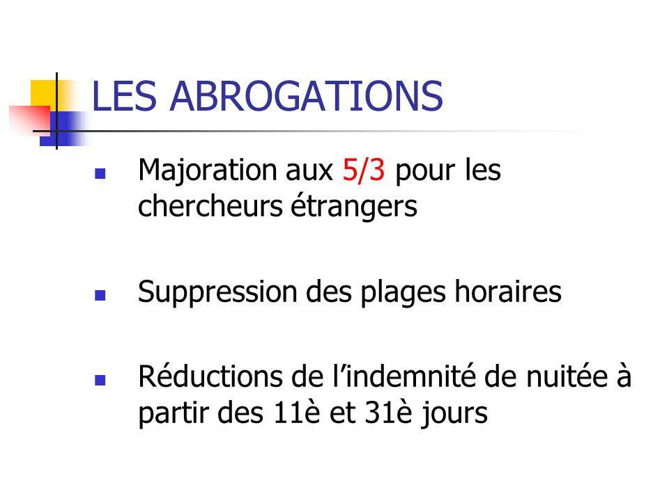 LES ABROGATIONS Majoration aux 5/3 pour les chercheurs étrangers