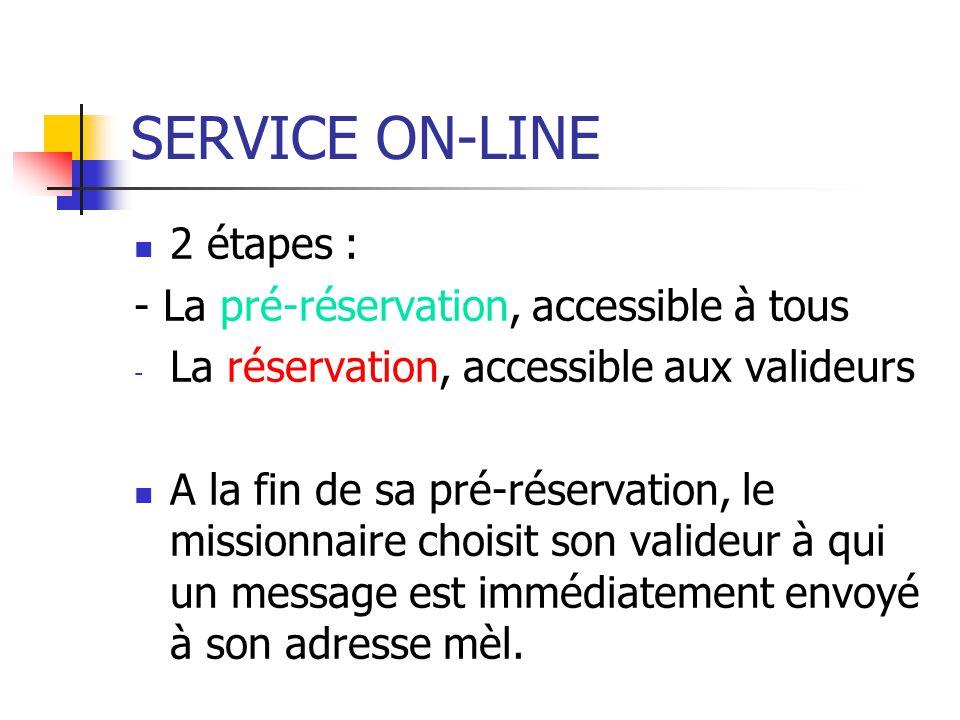 SERVICE ON-LINE 2 étapes : - La pré-réservation, accessible à tous