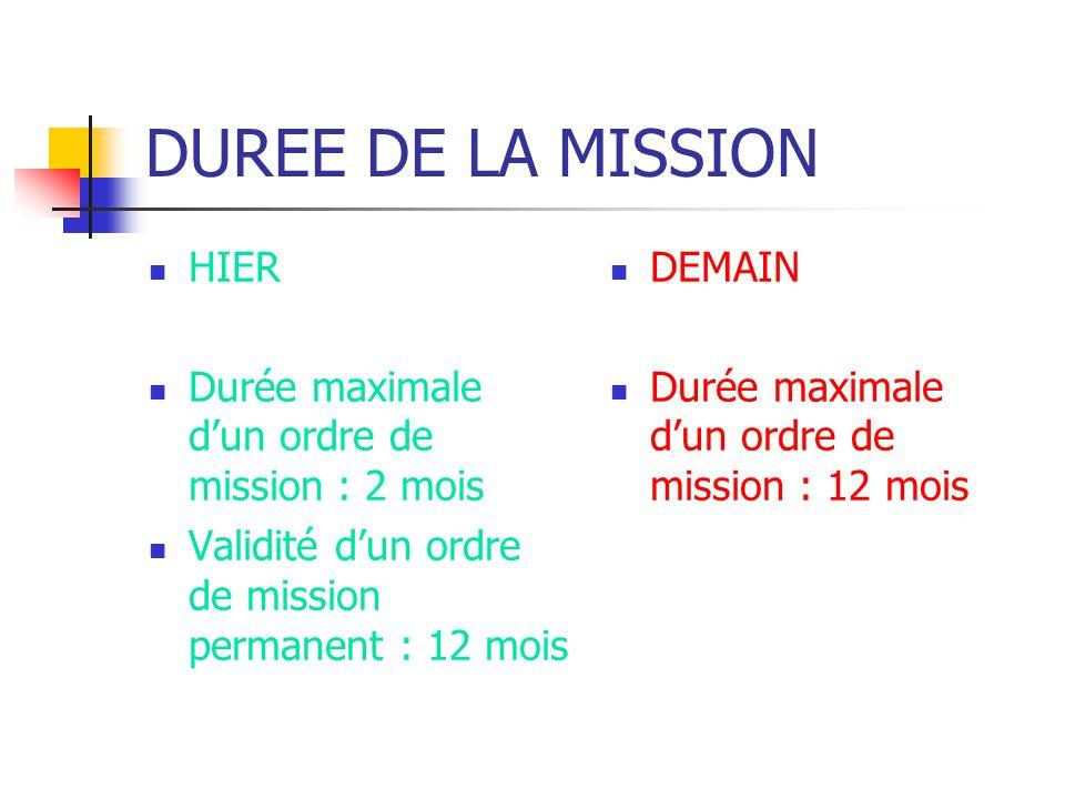 DUREE DE LA MISSION HIER Durée maximale d'un ordre de mission : 2 mois