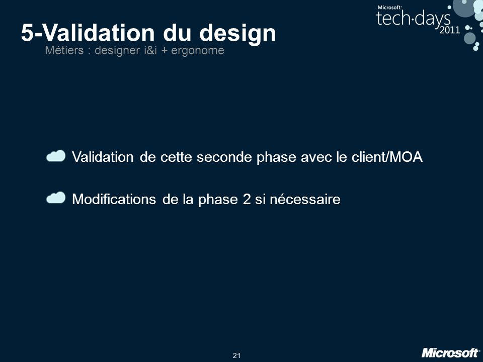 5-Validation du design Métiers : designer i&i + ergonome. Validation de cette seconde phase avec le client/MOA.