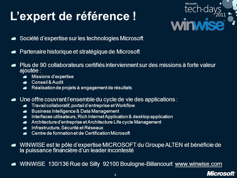 L'expert de référence ! Société d'expertise sur les technologies Microsoft. Partenaire historique et stratégique de Microsoft.