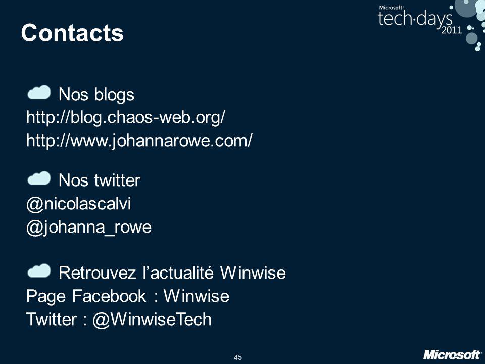 Contacts Nos blogs. http://blog.chaos-web.org/ http://www.johannarowe.com/ Nos twitter. @nicolascalvi.