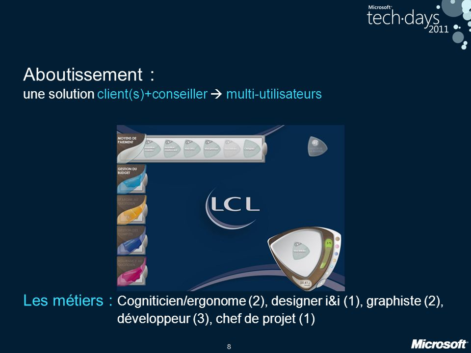 Aboutissement : une solution client(s)+conseiller  multi-utilisateurs. Les métiers : Cogniticien/ergonome (2), designer i&i (1), graphiste (2),