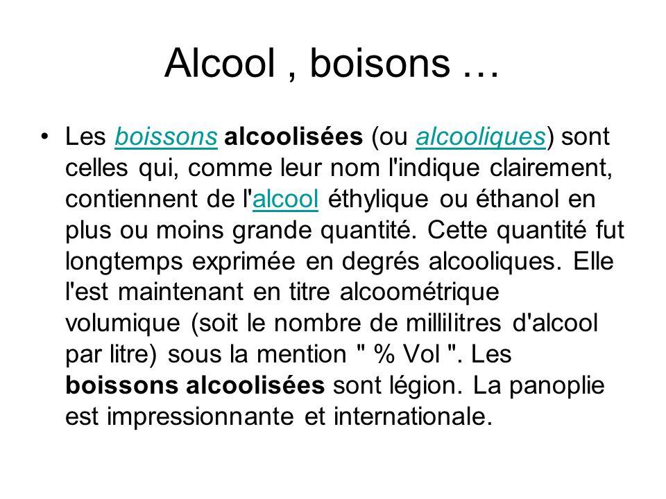 Alcool , boisons …