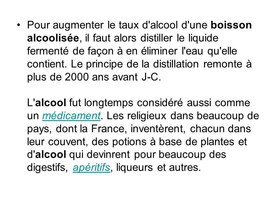 Pour augmenter le taux d alcool d une boisson alcoolisée, il faut alors distiller le liquide fermenté de façon à en éliminer l eau qu elle contient.