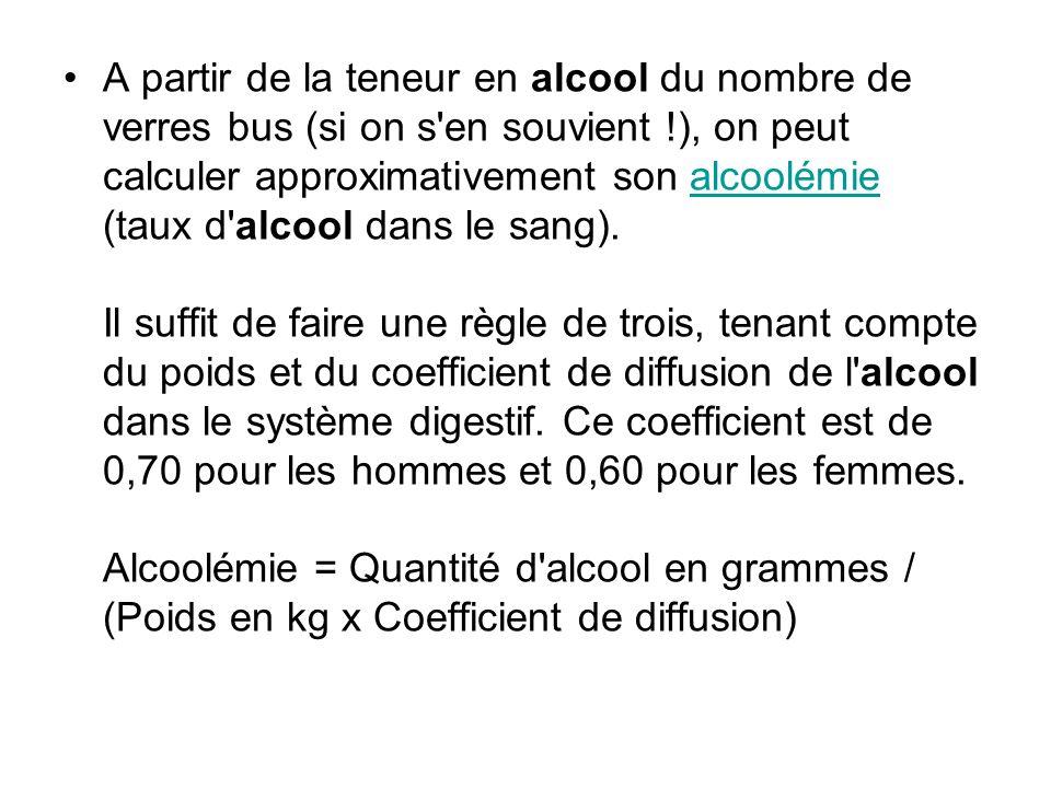 A partir de la teneur en alcool du nombre de verres bus (si on s en souvient !), on peut calculer approximativement son alcoolémie (taux d alcool dans le sang).