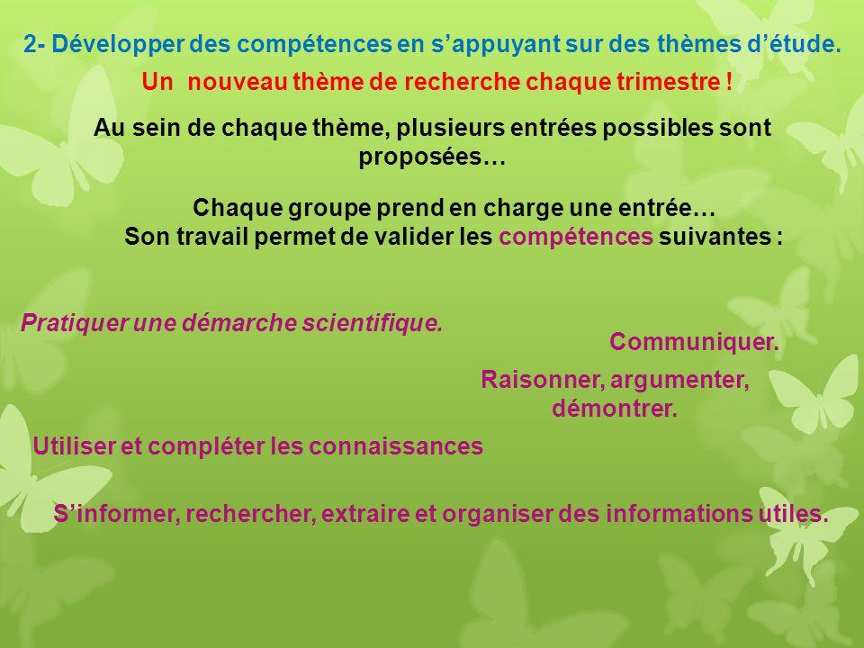 2- Développer des compétences en s'appuyant sur des thèmes d'étude.