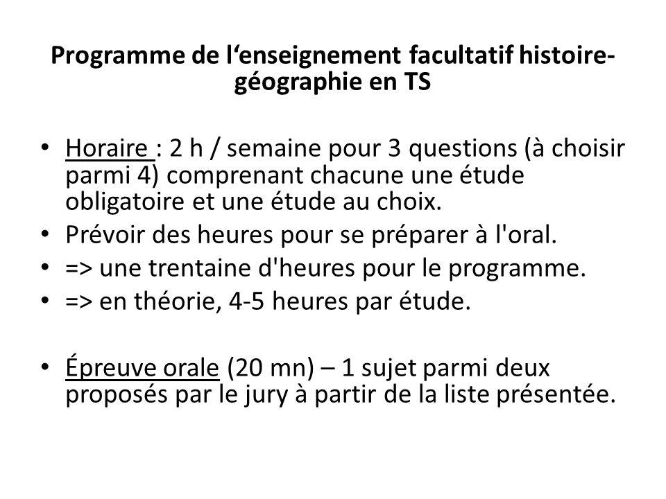 Programme de l'enseignement facultatif histoire-géographie en TS