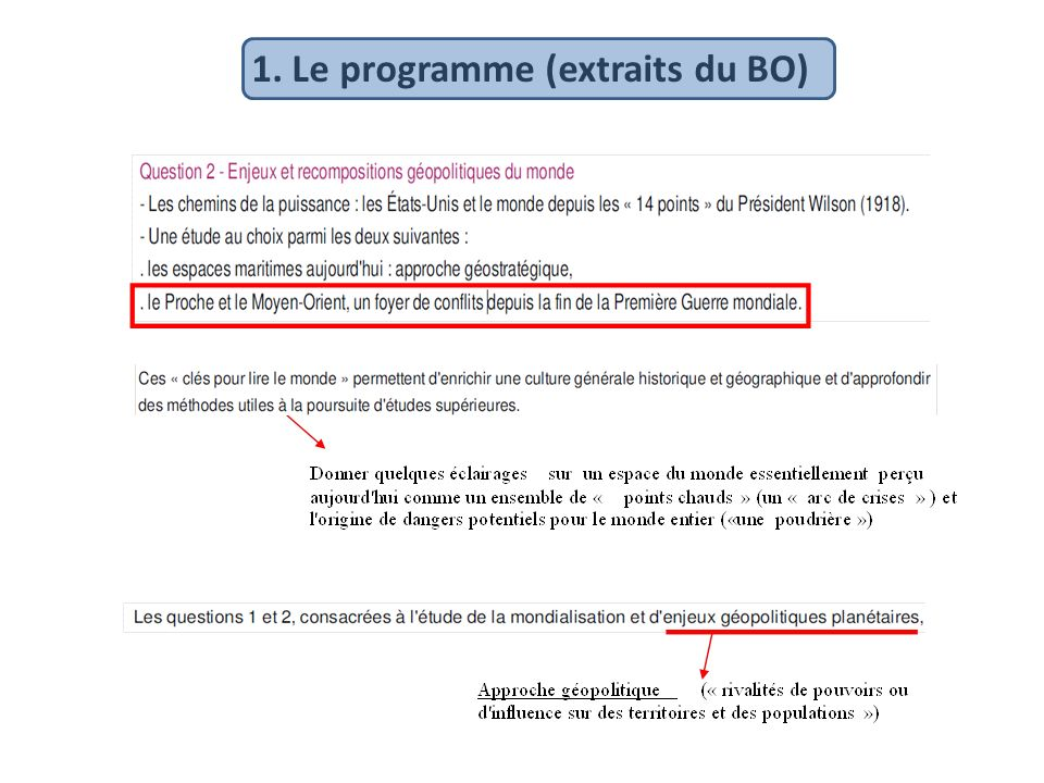 1. Le programme (extraits du BO)