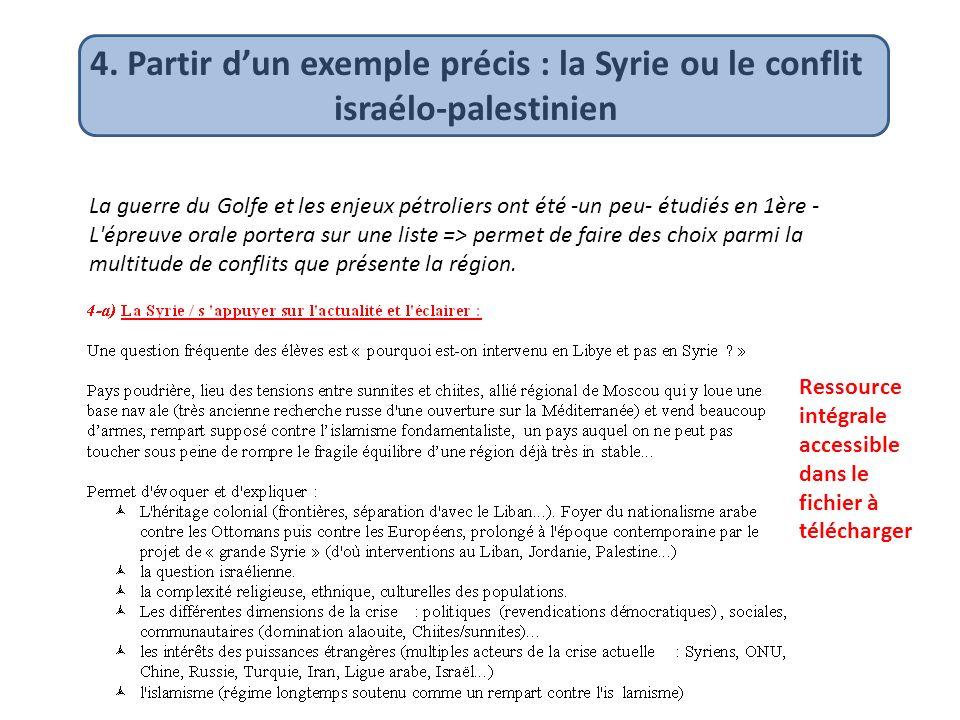 4. Partir d'un exemple précis : la Syrie ou le conflit israélo-palestinien