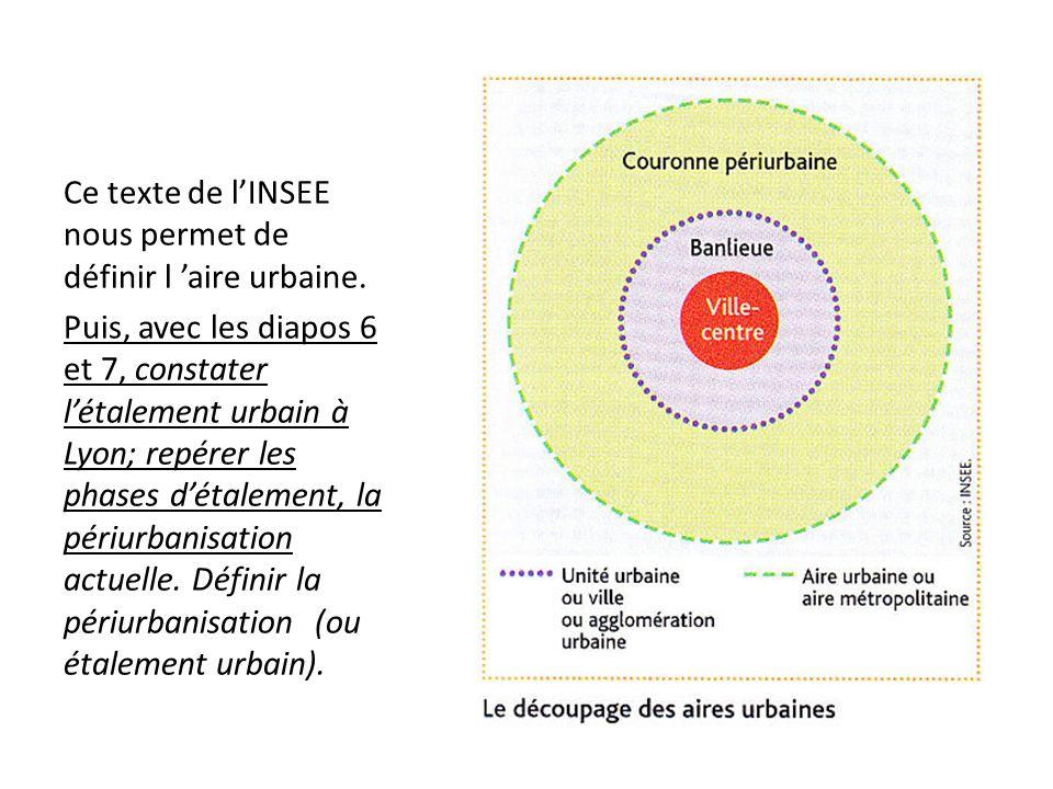 Ce texte de l'INSEE nous permet de définir l 'aire urbaine.