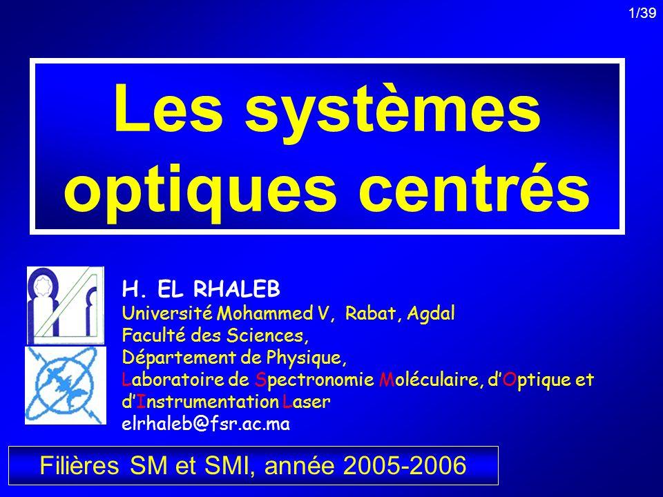 Les systèmes optiques centrés