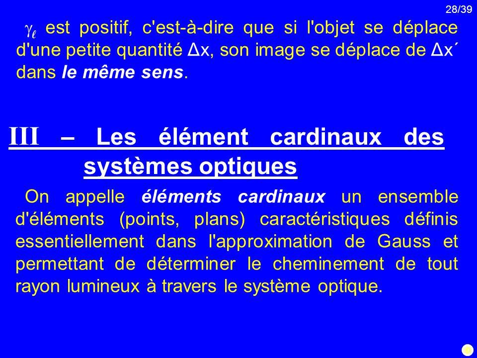 III – Les élément cardinaux des systèmes optiques