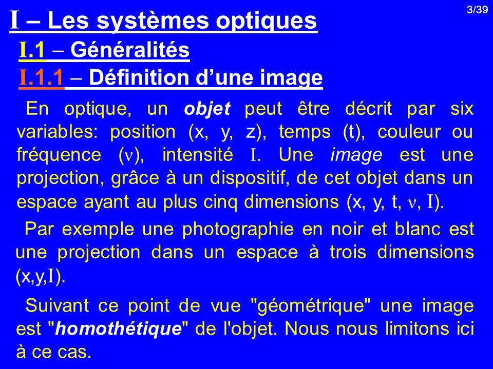 I – Les systèmes optiques