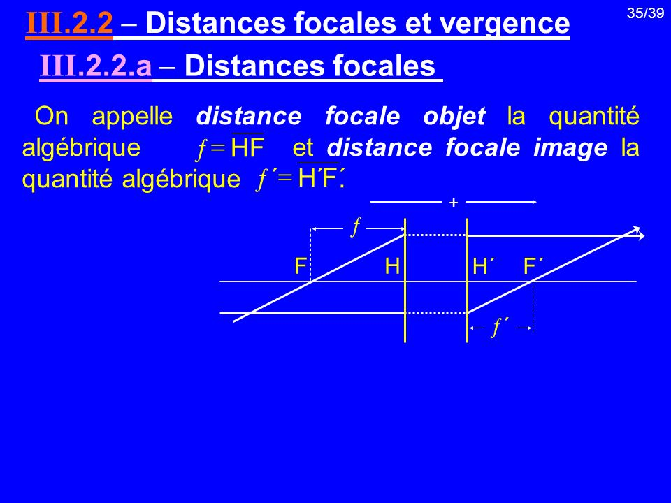 III.2.2  Distances focales et vergence III.2.2.a  Distances focales
