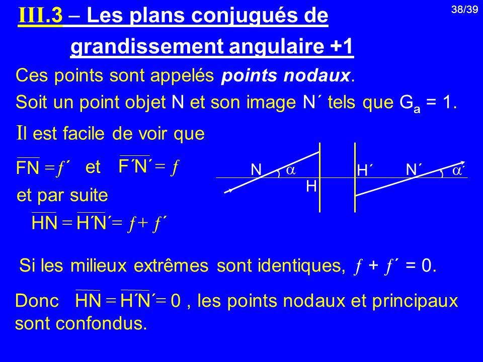 III.3  Les plans conjugués de grandissement angulaire +1