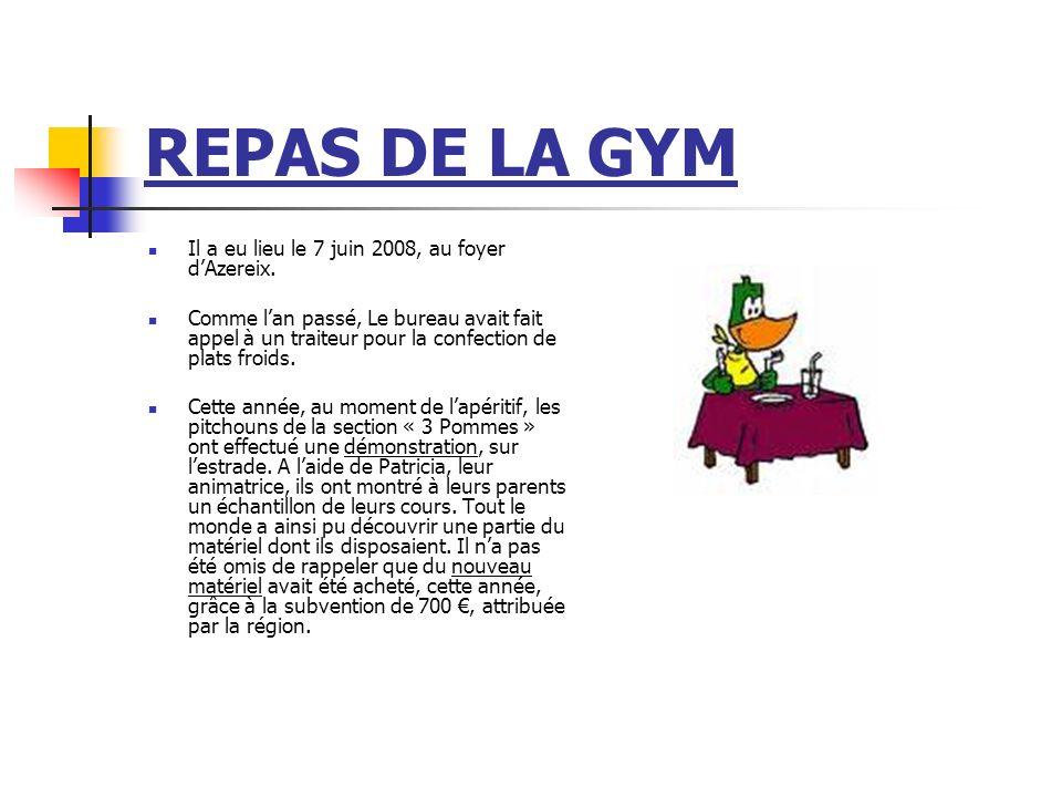 REPAS DE LA GYM Il a eu lieu le 7 juin 2008, au foyer d'Azereix.