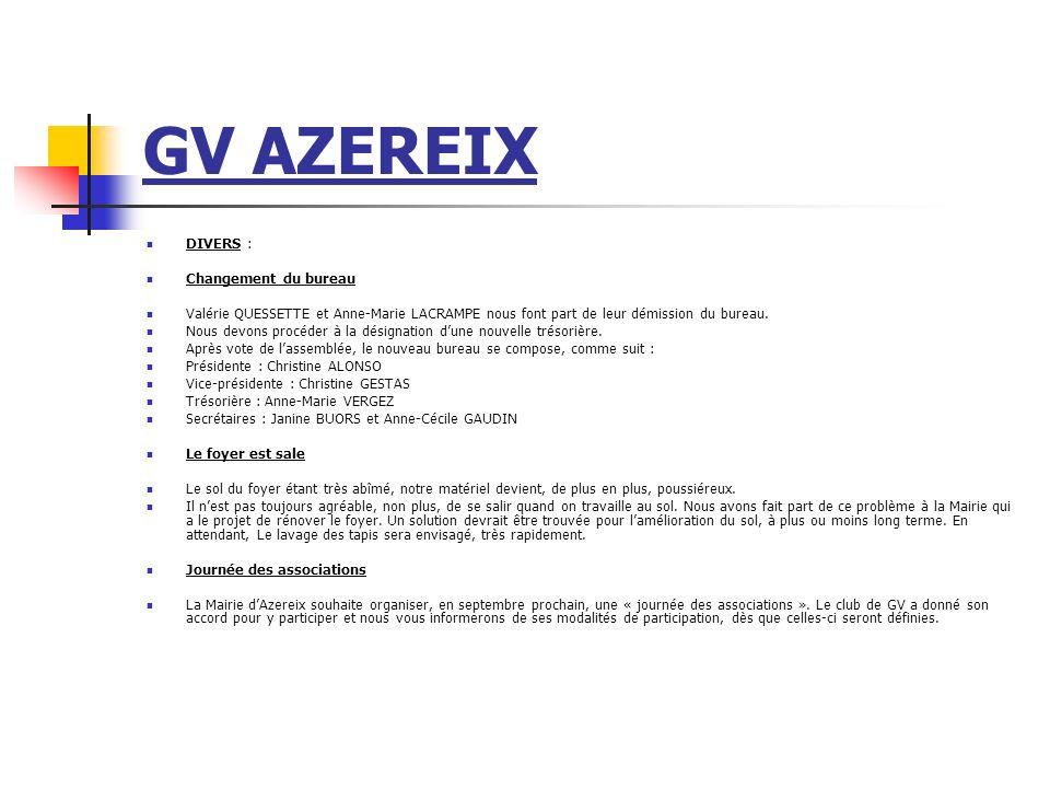 GV AZEREIX DIVERS : Changement du bureau