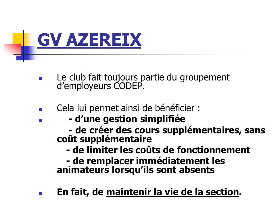 GV AZEREIX Le club fait toujours partie du groupement d'employeurs CODEP. Cela lui permet ainsi de bénéficier :