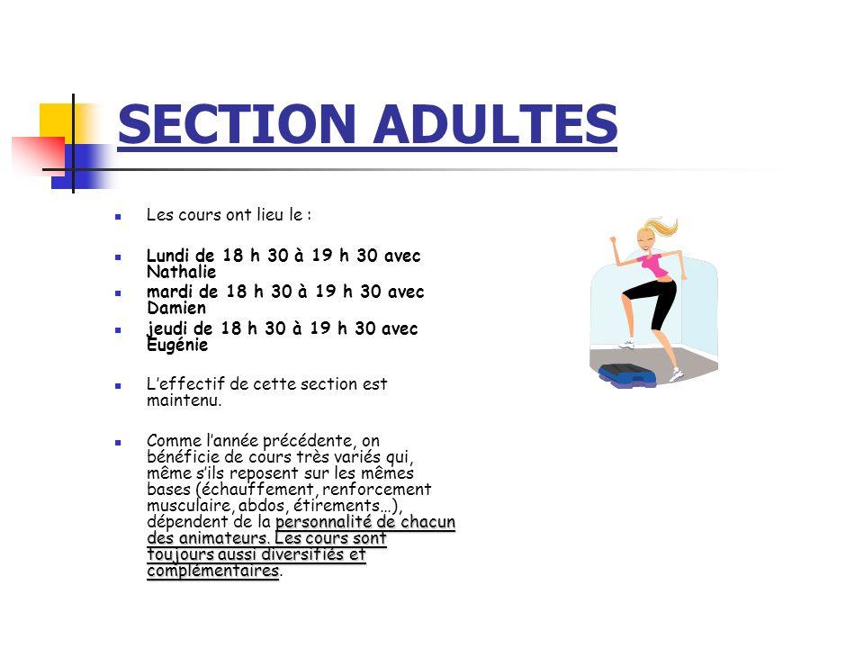SECTION ADULTES Les cours ont lieu le :