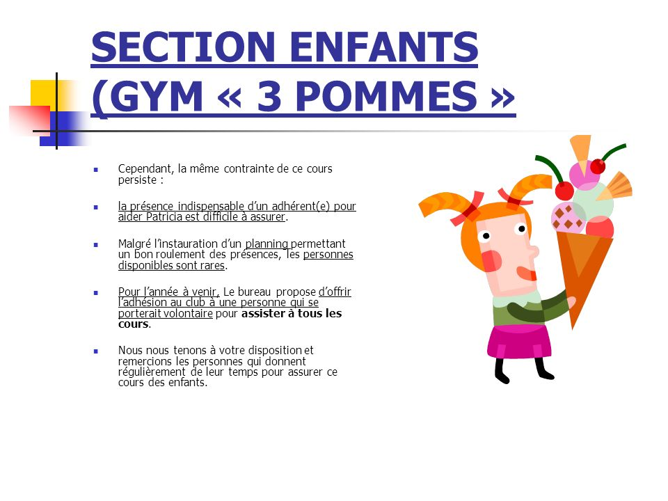 SECTION ENFANTS (GYM « 3 POMMES »