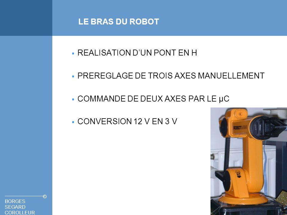 LE BRAS DU ROBOTREALISATION D'UN PONT EN H. PREREGLAGE DE TROIS AXES MANUELLEMENT. COMMANDE DE DEUX AXES PAR LE µC.