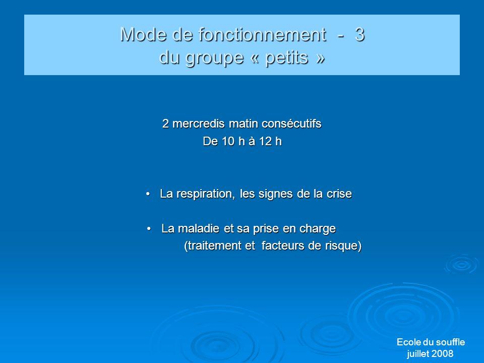 Mode de fonctionnement - 3 du groupe « petits »