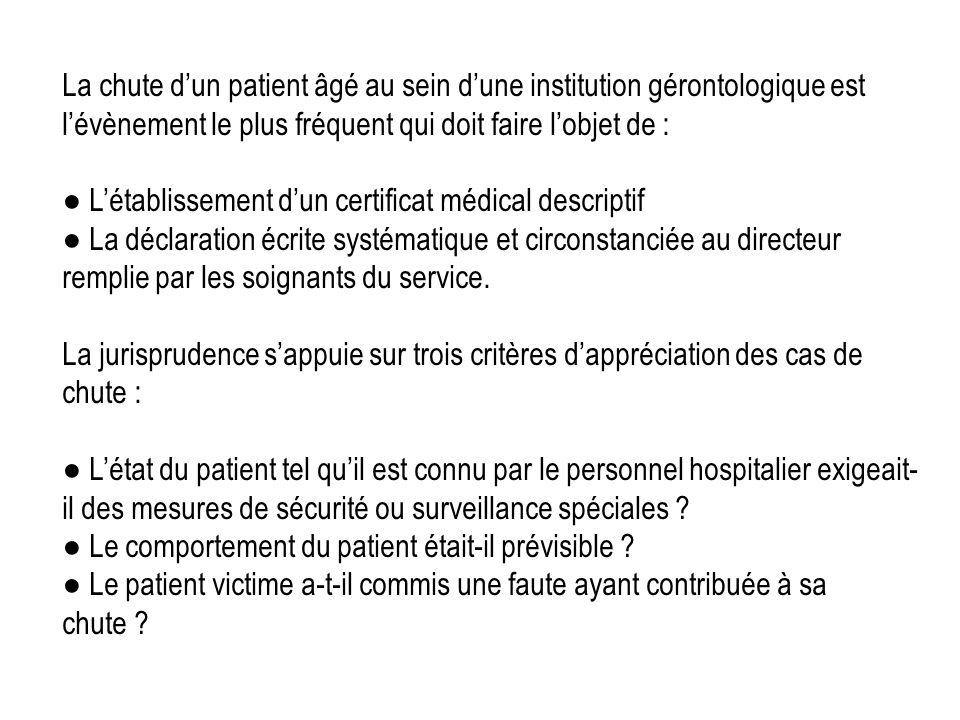 La chute d'un patient âgé au sein d'une institution gérontologique est l'évènement le plus fréquent qui doit faire l'objet de :