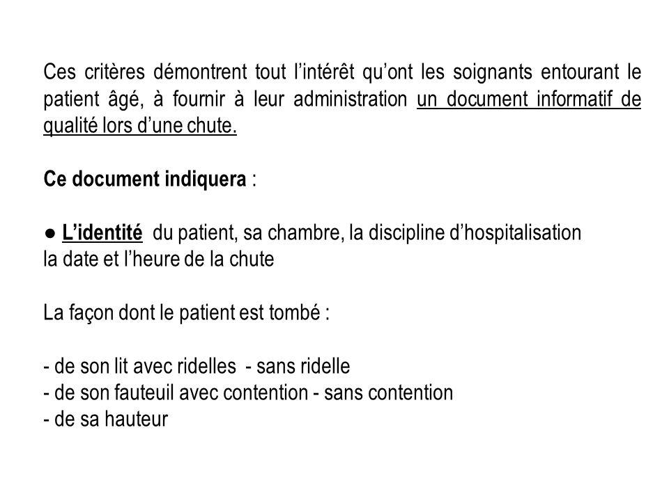 Ces critères démontrent tout l'intérêt qu'ont les soignants entourant le patient âgé, à fournir à leur administration un document informatif de qualité lors d'une chute.