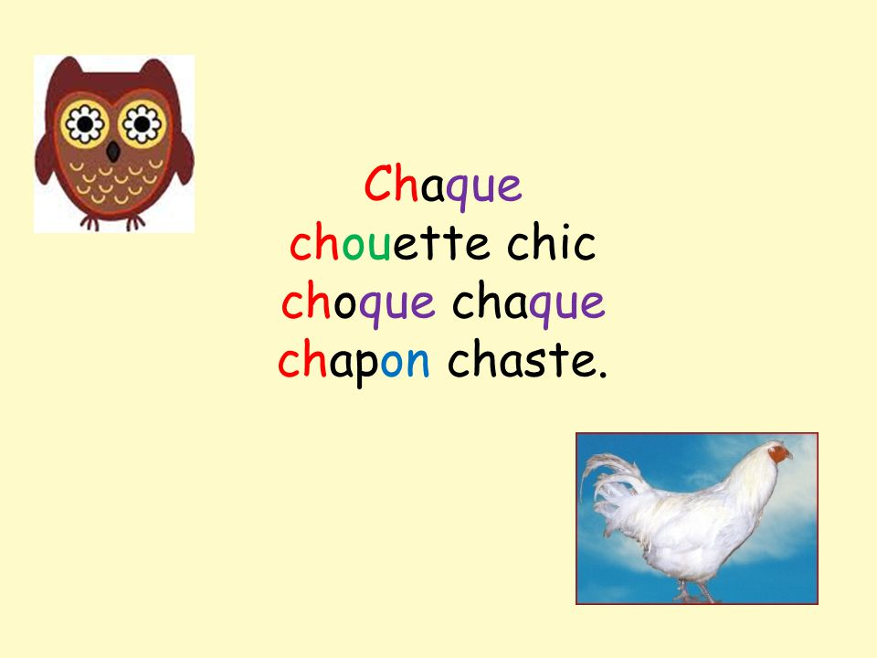 Chaque chouette chic choque chaque chapon chaste.
